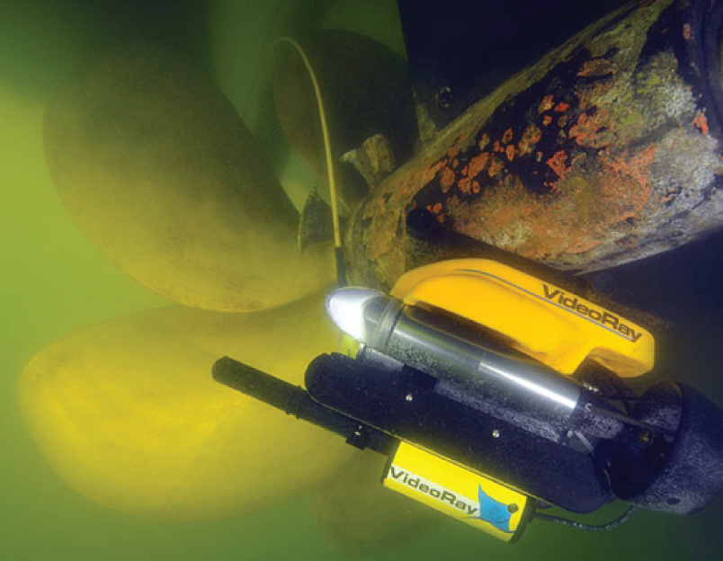 Underwater view of the remotely operated vehicle